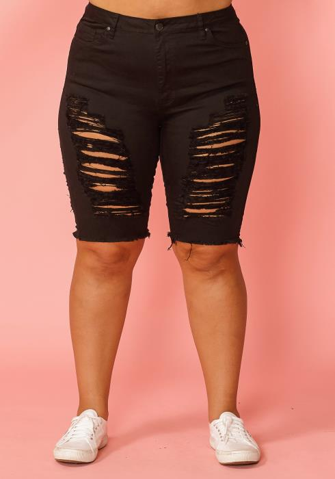 Asoph Plus Size Distressed Knee Length Denim Shorts