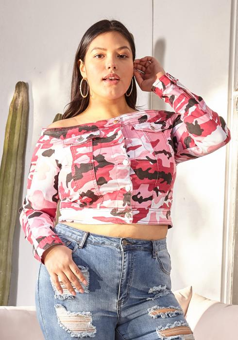 Asoph Plus Size Camo Print Button Up Cropped Top
