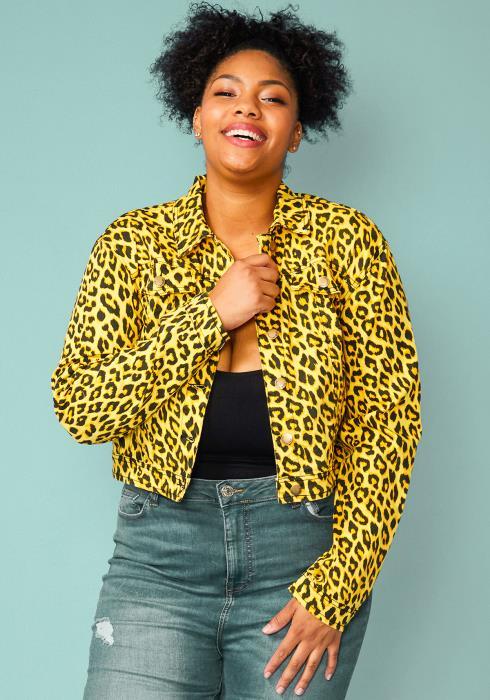 Asoph Plus Size Leopard Print Cropped Jacket