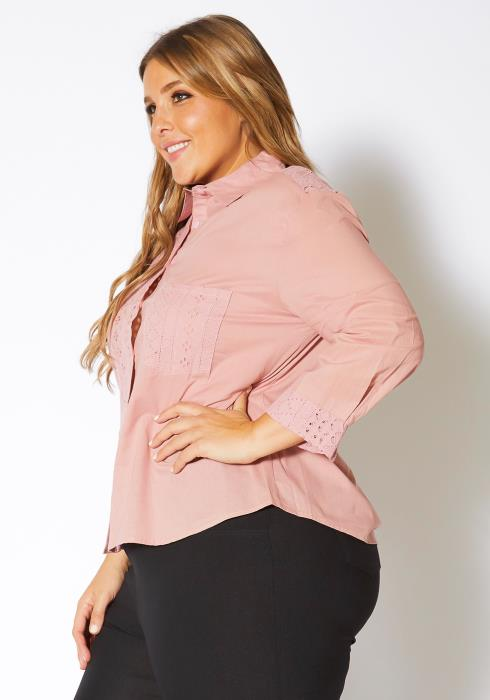 Asoph Plus Size Eyelet Cutout Button Up Shirt