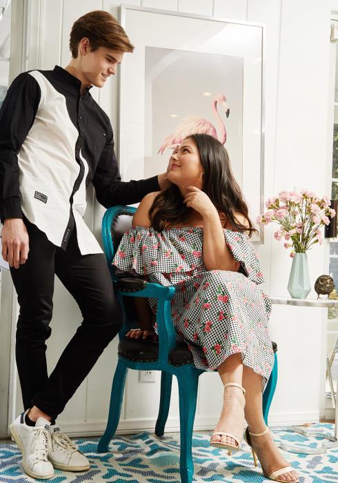 Asoph Plus Size Flower Checker Off Shoulder Dress