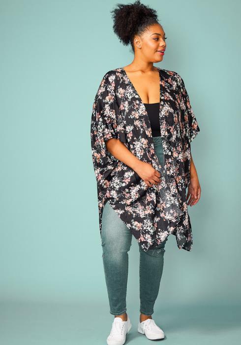 Asoph Plus Size Floral Flowy Kimono Cardigan