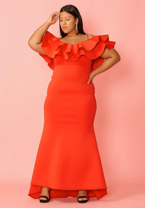 Asoph Plus Size Cold Shoulder Layered Ruffle Maxi Evening Dress