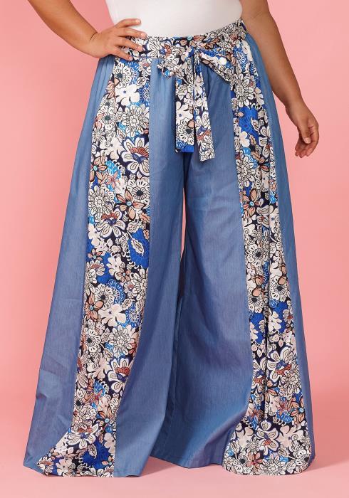 Asoph Plus Size Floral Denim Wide Leg Pants