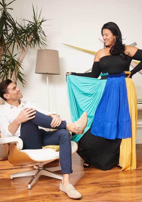 Asoph Plus Size Pleated Color Block Maxi Skirt