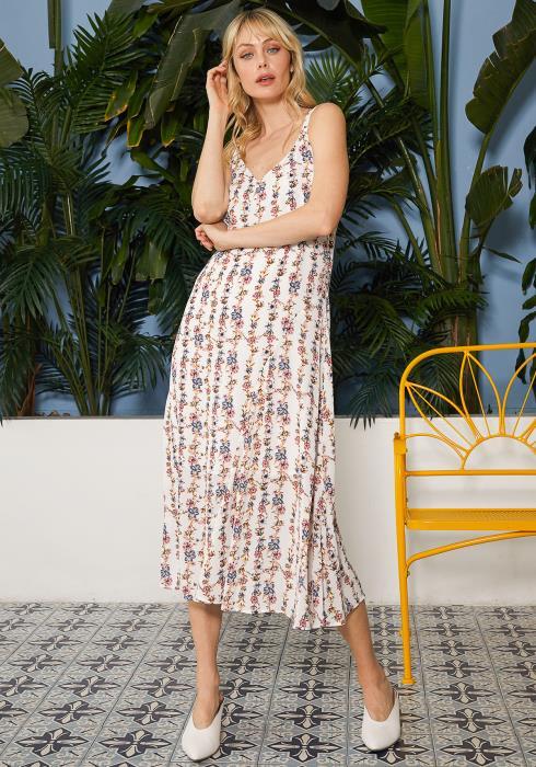 Ro&De Noir Floral V-Neck Sleeveless Maxi Dress