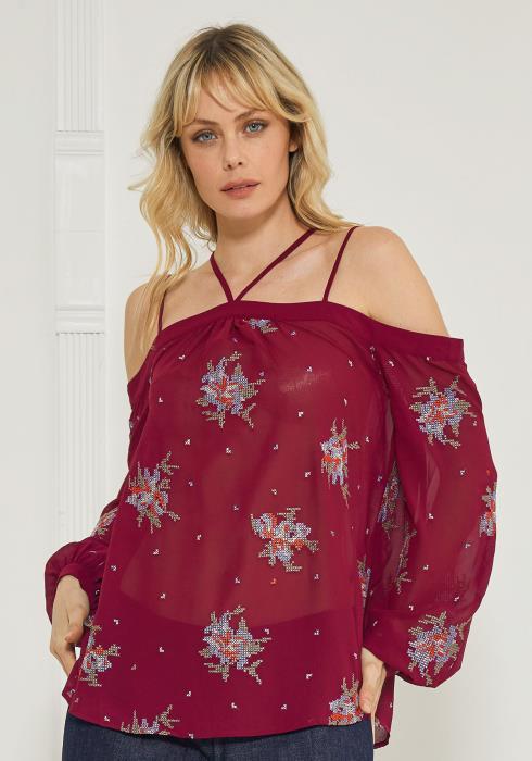 Ro&De Strappy Floral Open Shoulder Blouse