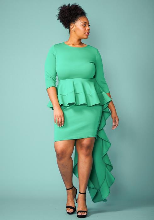 Plus Size Peplum Long Cape Party Dress