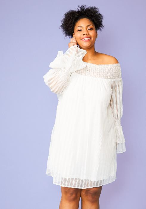 Plus Size Sheer Mesh Off Shoulder Tunic Dress