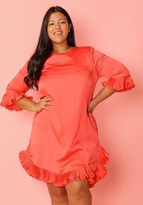 Asoph Plus Size Satin Ruffle Hem Tunic Mini Dress