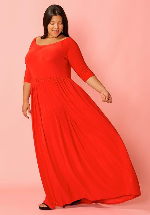 Asoph Plus Size Half Sleeve Boat Neck Maxi Dress