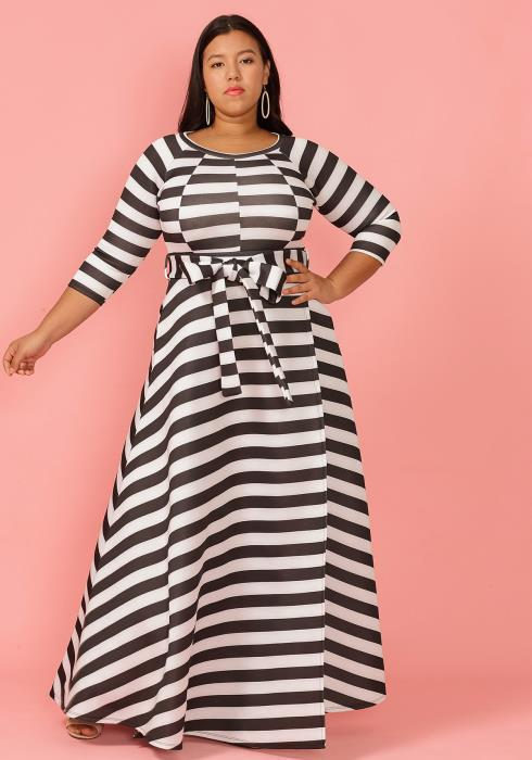 e73d5aebd3a Asoph Plus Size 3 4 Sleeve Stripe Tie Waist Maxi Dress