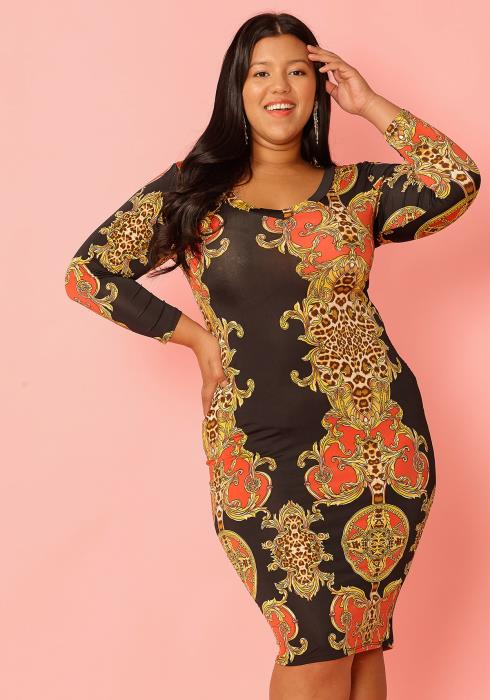 Asoph Plus Size Multi Print Long Sleeve Mid Bodycon Dress