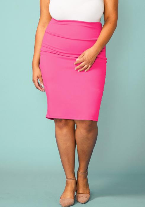Plus Size Basic High Waist Pencil Midi Skirt