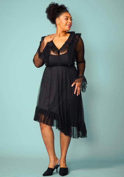 Plus Size Sheer Mesh Ruffle Asymmetrical Dress
