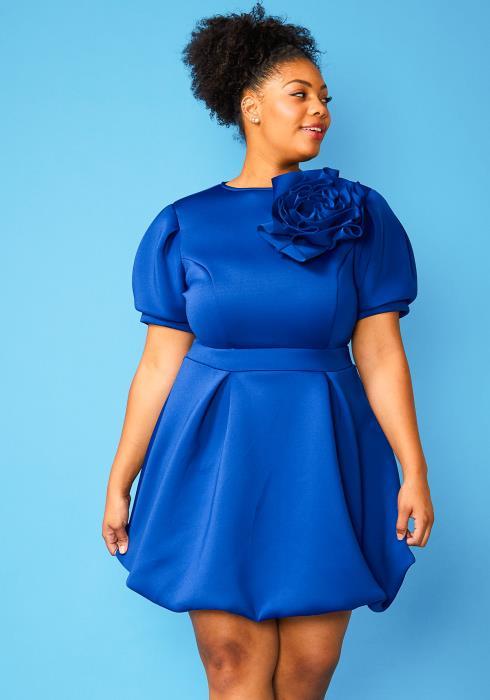Plus Size Flower Puff Sleeve Mini Dress