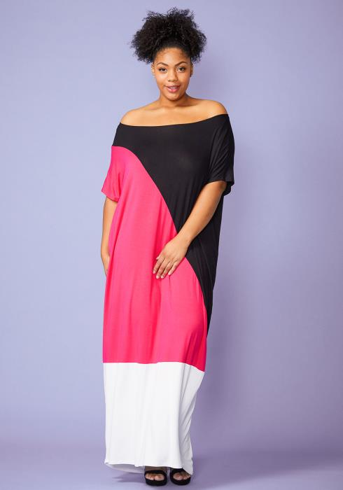Plus Size Color Blosck Off Shoulder Maxi Dress
