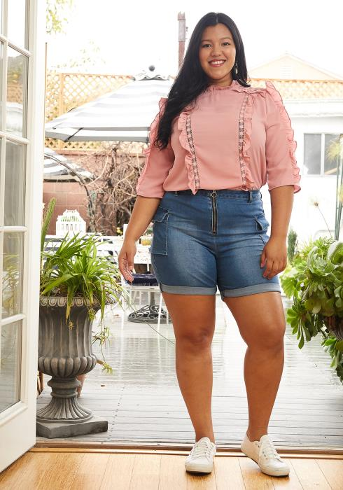 Asoph Plus Size Zip Up High Waisted Denim Shorts