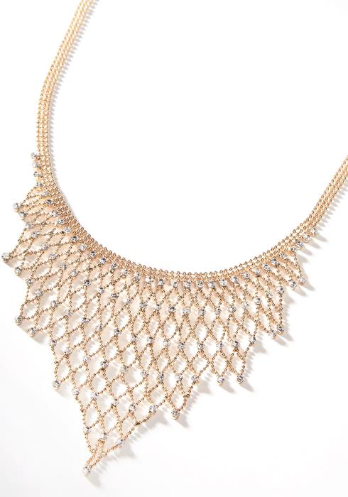 Net Cubic Fancy Necklace Gold