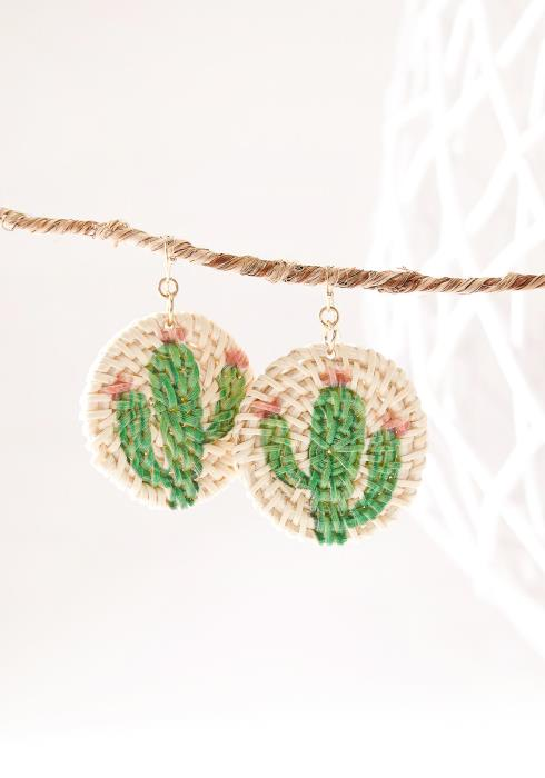 Cactus Straw Earring