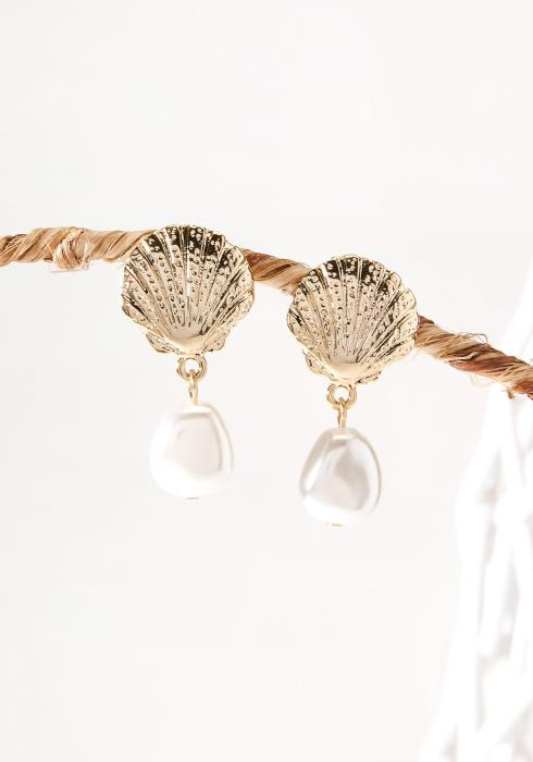 Shell & Pearl Drop Earring Gold