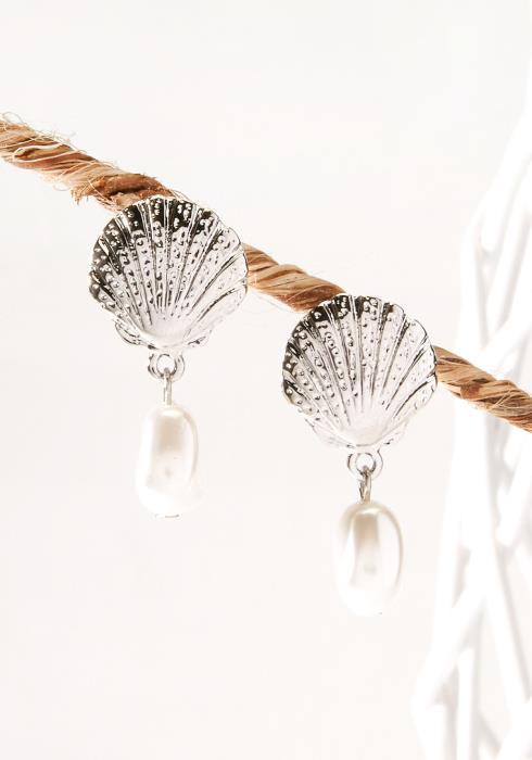 Shell & Pearl Drop Earring Silver