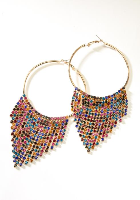Cubic Chandelier Hoop Earring