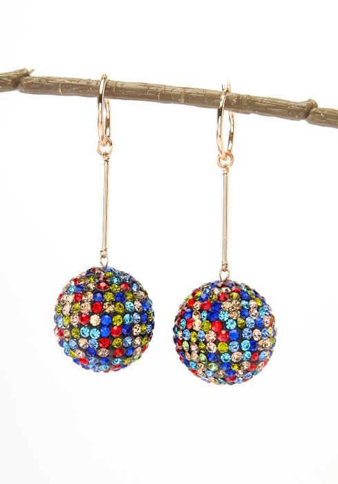 Silver Disco Ball Drop Earring