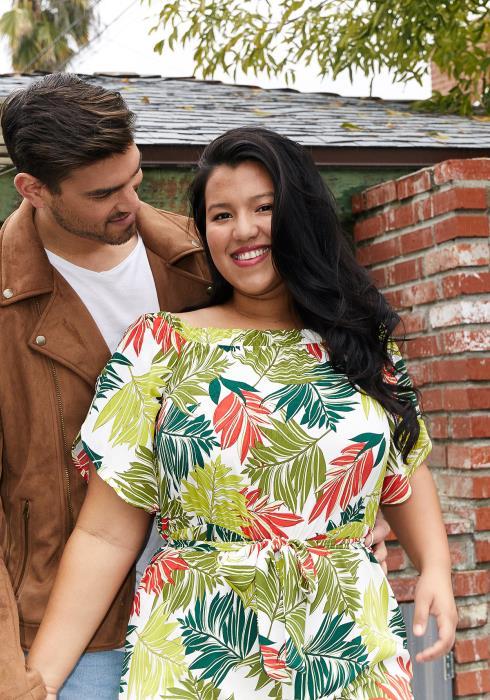 Asoph Plus Size Leaf Print Tie Waist Jumpsuit