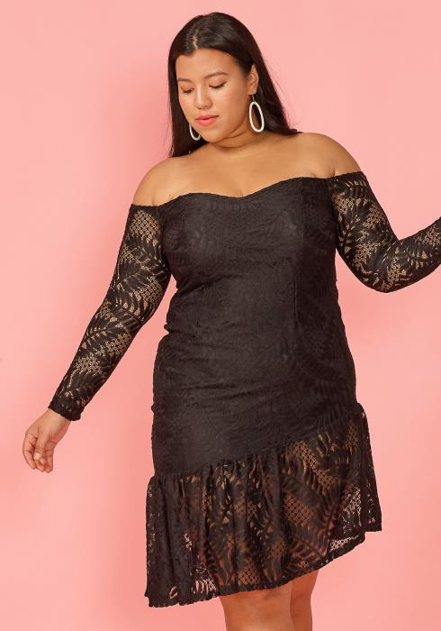 Asoph Plus Size Asymmetrical Lace Off Shoulder Dress