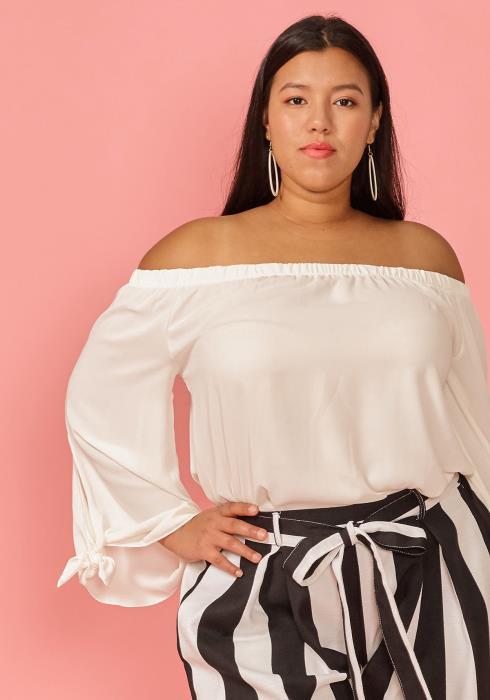 Asoph Plus Size Off Shoulder Daily Blouse