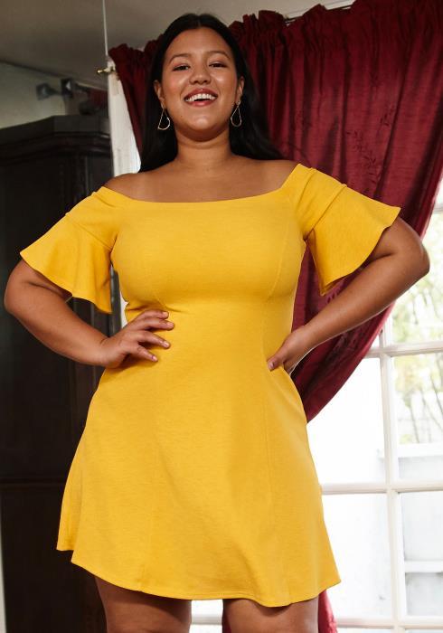 Asoph Plus Size Off Shoulder Fit Flared Dress