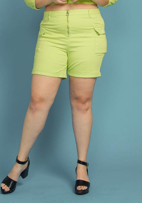 Asoph Plus Size Zip Up High Waisted Shorts