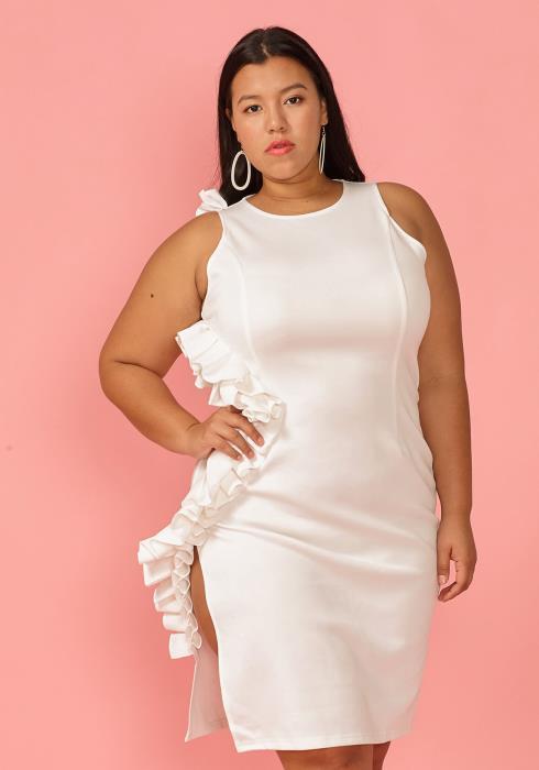 Plus Size Wavy Side Ruffle Sleeveless Dress