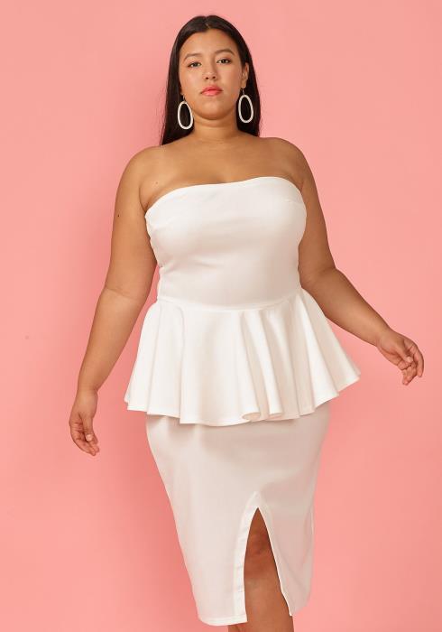 Plus Size Tube Top Peplum Slit Dress