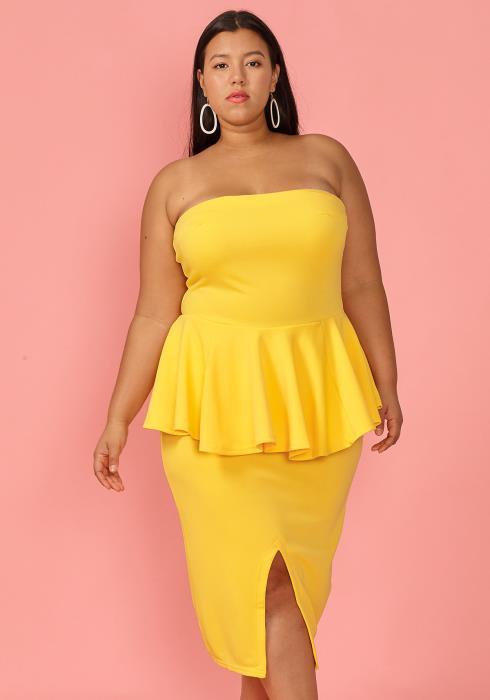 Asoph Plus Size Tube Top Peplum Slit Dress