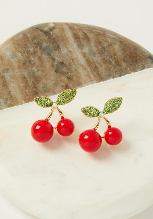 Cherry Rhinestone Stud Earrings