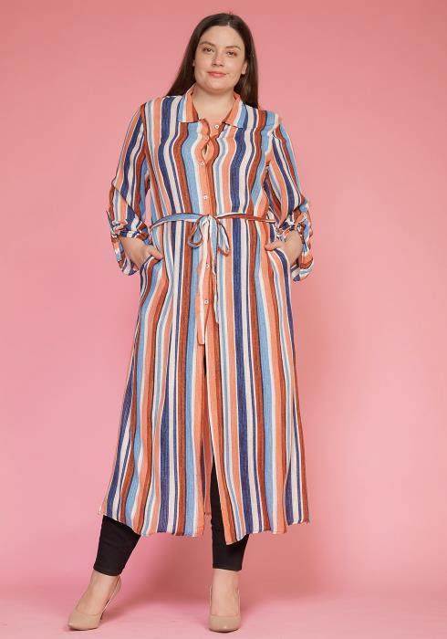 Asoph Plus Size Multi Stripe Button Up Long Shirt
