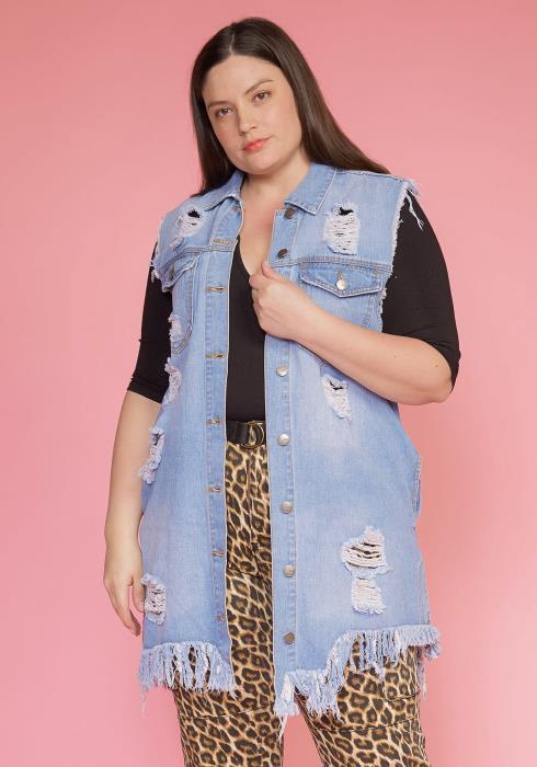 Asoph Plus Size Ripped Hem Sleeveless Denim Vest