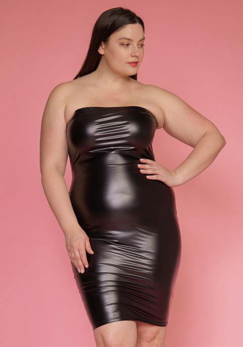 6e537397935 Asoph Plus Size Faux Leather Tube Top Sleeveless Dress