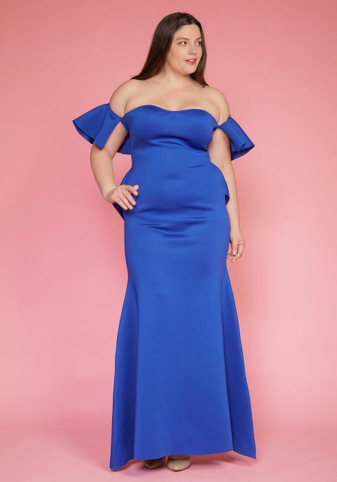 Asoph Plus Size Elegant Off Shoulder Maxi Evening Dress