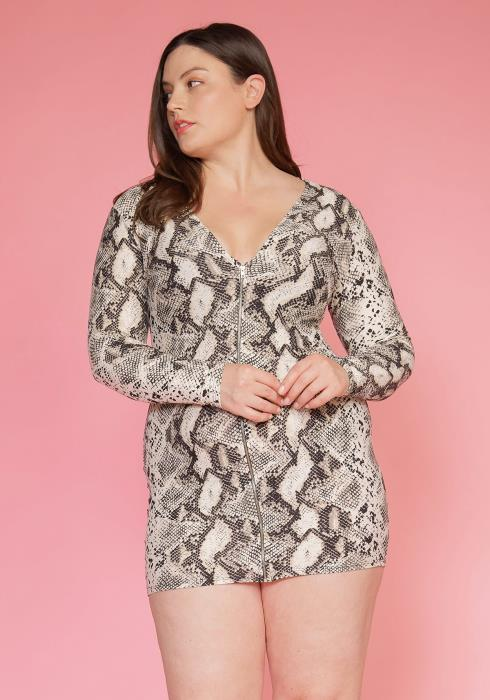 Asoph Plus Size Snake Print  Zip Up Mini Bodycon Dress