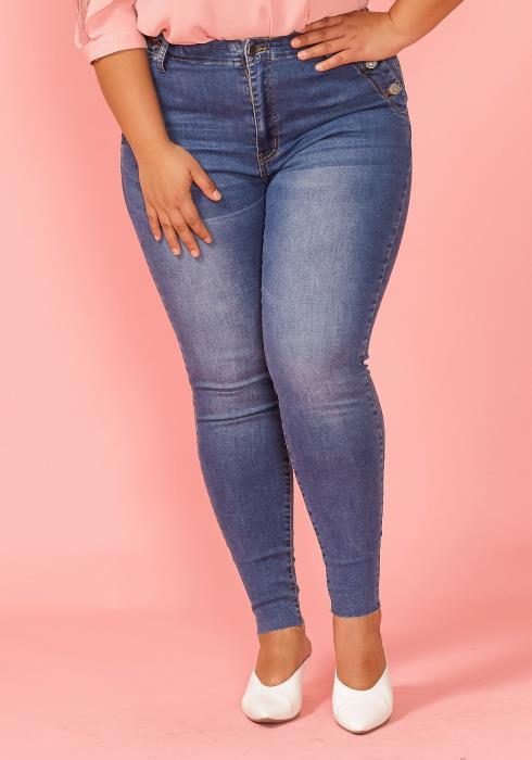 Asoph Plus Size Button Pocket Skinny Jean