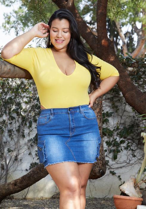 Asoph Plus Size Denim Mini Skirt With Pockets