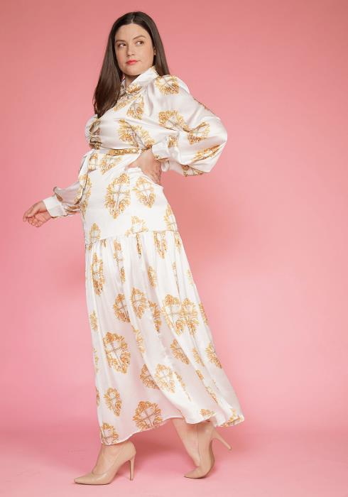 Asoph Plus Size Gold Printed Maxi Button Up Dress With Belt