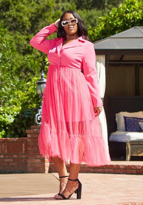 Asoph Plus Size Mesh Hem Collared Coat Dress