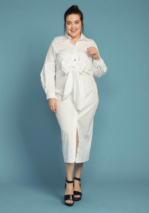 Asoph Plus Size Tie Front Button Up Shirt Dress