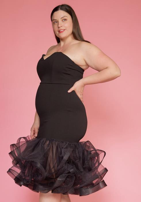 Ashop Plus Size Flared Mesh Hem Tube Top Party Dress