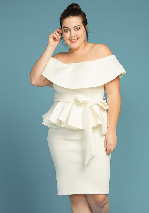 Asoph Plus Size Off Shoulder Tie Waist Peplum Dress