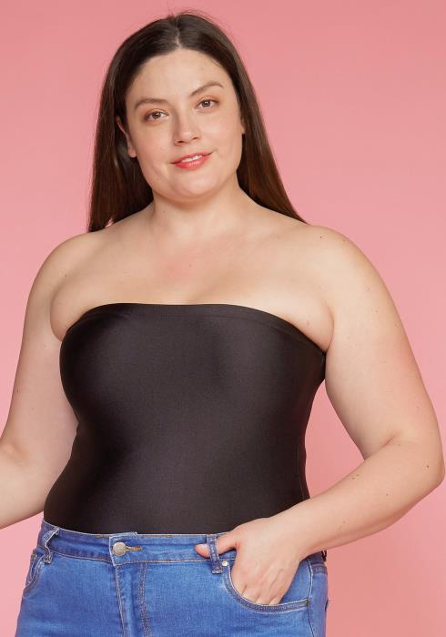 Asoph Plus Size Tube Top Nylon Bodysuit